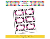 """PDF Editable Pink Zebra Assorted Tags/ Stickers/ Labels (No. 110) 3.5"""" X 2.5"""" Labels, Buffet or Food Cards, Favor Tags Printable"""