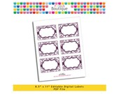 """PDF Editable Eggplant & White Damask Tags/ Stickers/ Labels (No. 185) 3.5"""" X 2.5"""" Labels, Buffet or Food Cards, Favor Tags Printable"""