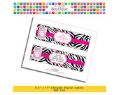 """PDF Editable Pink & Black Zebra Water Bottle Labels (No. 204) 9"""" X 2.5"""" Labels, Buffet or Food Cards, Favor Tags Printable Party"""