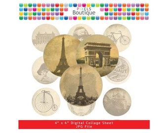 Vintage Paris Digital Collage Sheet (No. 019) - 1 Inch Circles for Round Bottle Caps, Magnets, Hair Bow Centers, Stickers, and More