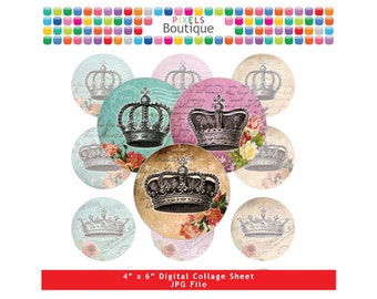 Vintage Royal Crowns Digital Collage Sheet (No. 035) - 1 Inch Circles for Round Bottle Caps, Magnets, Hair Bow Centers, Stickers, and More