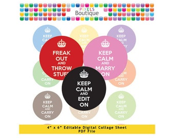 Rainbow Keep Calm Editable PDF Digital Collage Sheet (No. 082) - 1 Inch Circles Round Bottle Caps, Magnets, Hair Bow Centers, Stickers