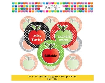 Teachers Apples Polka Editable PDF Digital Collage Sheet (No. 105) - 1 Inch Circles Round Bottle Caps, Magnets, Hair Bow Centers, Stickers