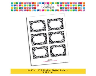 """PDF Editable Black Damask Assorted Tags/ Stickers/ Labels (No. 117) 3.5"""" X 2.5"""" Labels, Buffet or Food Cards, Favor Tags Printable"""