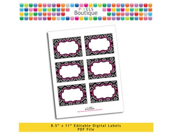 """PDF Editable Black & Pink Damask Assorted Tags/ Stickers/ Labels (No. 118) 3.5"""" X 2.5"""" Labels, Buffet or Food Cards, Favor Tags Printable"""