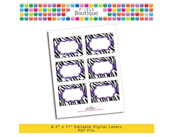 """PDF Editable Purple Zebra Assorted Tags/ Stickers/ Labels (No. 120) 3.5"""" X 2.5"""" Labels, Buffet or Food Cards, Favor Tags Printable"""