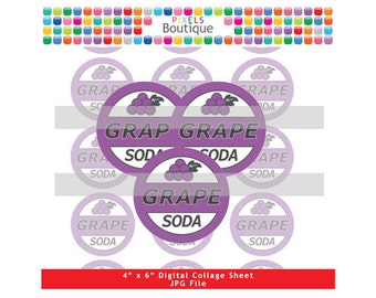 Ellie Grape Soda Badge Up Digital Collage Sheet (No. 129) - 1 Inch Circles Bottle Caps, Magnets, Hair Bow Centers, Stickers Up Inspired