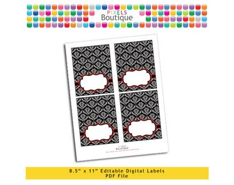"""PDF Editable Black & Red Damask Tent Labels Place Cards Tags (No. 130) 3.5"""" X 4.5"""" Labels, Buffet or Food Cards, Favor Tags Printable"""