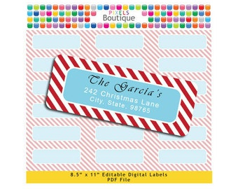 PDF Editable Return Address Labels Candy Cane Christmas Stripes AUTOFILL (No. 153) Favor Tags Printable Tags/ Stickers/ Labels