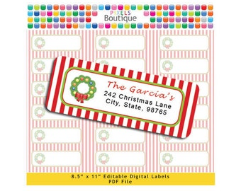 PDF Editable Return Address Labels Christmas Wreath Stripes AUTOFILL (No. 141) Favor Tags Printable Tags/ Stickers/ Labels