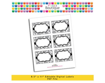 """PDF Editable Black & White Damask Tags/ Stickers/ Labels (No. 143) 3.5"""" X 2.5"""" Labels, Buffet or Food Cards, Favor Tags Printable"""