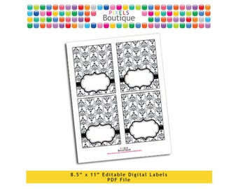 "PDF Editable Black & White Damask Tent Labels Place Cards Tags (No. 144) 3.5"" X 4.5"" Labels, Buffet or Food Cards, Favor Tags Printable"