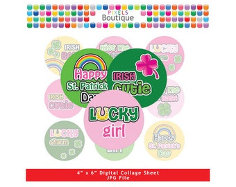 St. Patricks Day Lucky Irish Girl Collage Sheet (No. 174) - 1 Inch Circles Round Bottle Caps, Magnets, Hair Bow Centers, Stickers Pattys