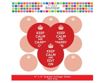 Red Keep Calm Editable PDF Digital Collage Sheet (No. 177) - 1 Inch Circles Round Bottle Caps, Magnets, Hair Bow Centers, Stickers