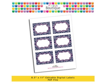 """PDF Editable Navy & Pink Damask Assorted Tags/ Stickers/ Labels (No. 178) 3.5"""" X 2.5"""" Labels, Buffet or Food Cards, Favor Tags Printable"""