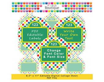 PDF Editable Sesame Street 2.5 Inch Circles Digital Collage Sheet (No. 181) Stickers Labels Cupcake Toppers Lollipops Party Avery 5294