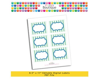 """PDF Editable Green & Blue Stripes Tags/ Stickers/ Labels (No. 182) 3.5"""" X 2.5"""" Labels, Buffet or Food Cards, Favor Tags Printable"""