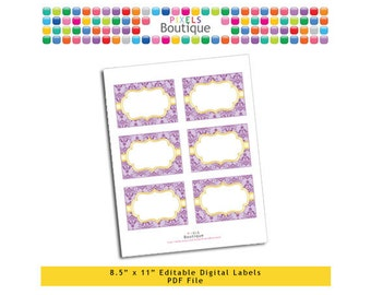 """PDF Editable Lavender & Gold Damask Tags/ Stickers/ Labels (No. 187) 3.5"""" X 2.5"""" Labels, Buffet Food Cards, Favor Printable Tangled Party"""