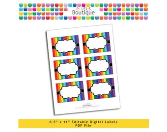"""PDF Editable Rainbow Stripes Tags/ Stickers/ Labels (No. 205) 3.5"""" X 2.5"""" Labels, Buffet or Food Cards, Favor Tags Printable"""