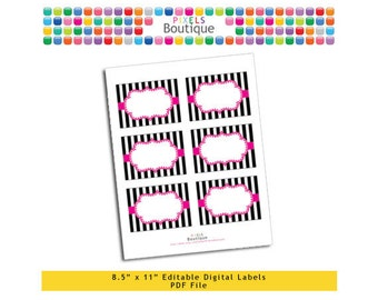 "PDF Editable Pink & Black Stripes Tags/ Stickers/ Labels (No. 207) 3.5"" X 2.5"" Labels, Buffet or Food Cards, Favor Tags Printable"