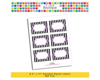 """PDF Editable Lilac & Black Stripes Tags/ Stickers/ Labels (No. 209) 3.5"""" X 2.5"""" Labels, Buffet or Food Cards, Favor Tags Printable"""