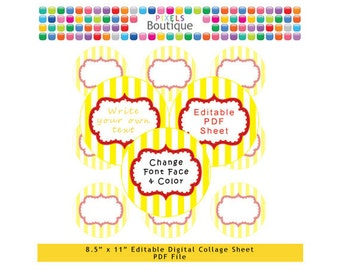 PDF Editable Yellow & Red Stripes Style 2 Inch Circles Digital Collage Sheet (No. 217) Stickers Labels Cupcake Toppers