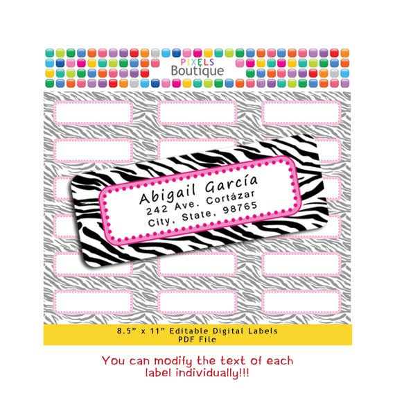 PDF Editable Return Address Labels Pink & Black Zebra INDIVIDUAL (No. 161B) Favor Tags Printable Tags/ Stickers/ Labels Avery 5160, 8160