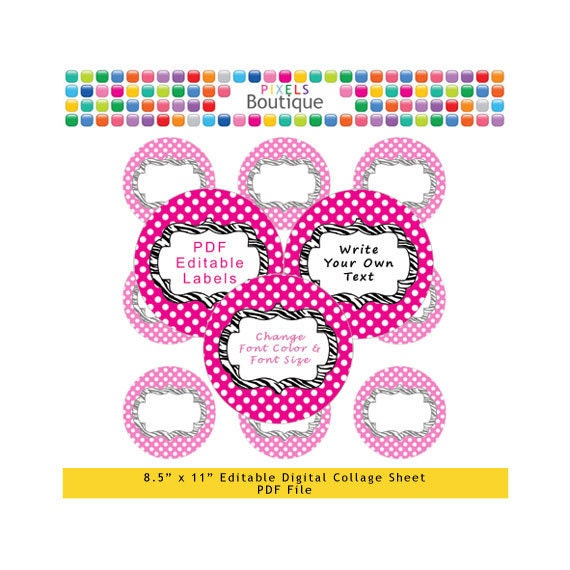 PDF Editable Pink & Zebra 2 Inch Circles Digital Collage Sheet (No. 164) Stickers Labels Cupcake Toppers