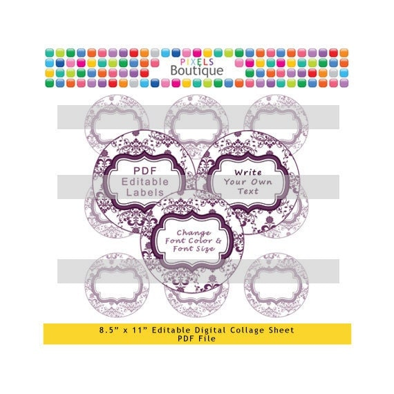 PDF Editable Eggplant & White Damask 2 Inch Circles Digital Collage Sheet (No. 190) Stickers Labels Cupcake Toppers