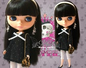 30% OFF - Girlish Silver dotties black lady top with ribbon for Blythe doll