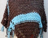 Chocolate Brown & Tiffany Blue Hand Knitted Poncho, Soft, Light and Fabulous