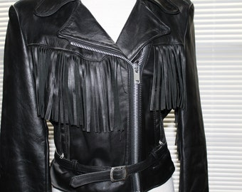Ladies black leather Steer Brand jacket with fringe