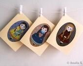 Handmade Collage Blank Greeting Cards With Envelope (Set of 3) - Vintage Dolls