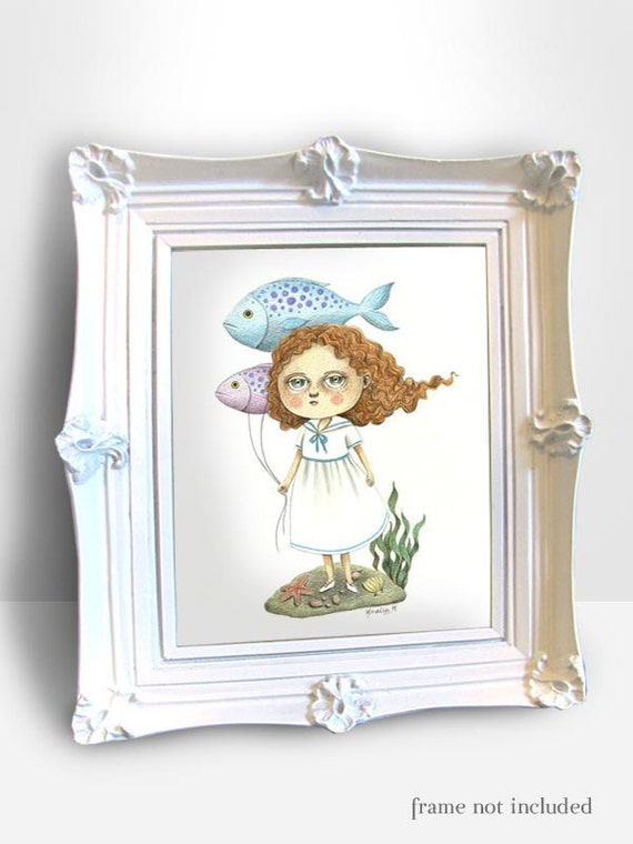 RESERVED for Mattered Mess Paper - Original Illustration (Drawing) - Fish Balloons by Amalia K - 8x10 inches