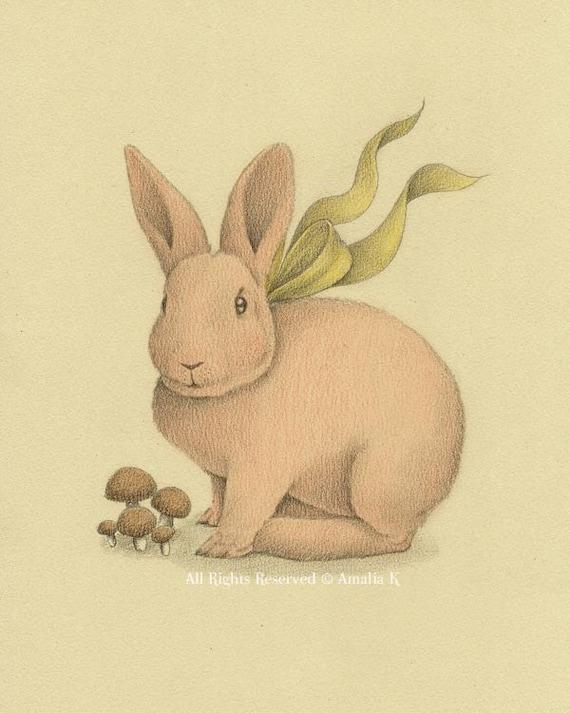 Items Similar To Bunny Rabbit Whimsical Illustration