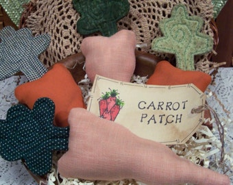 Primitive Whimsical Country GARDEN CARROTS Tucks Bowl Fillers Ornies