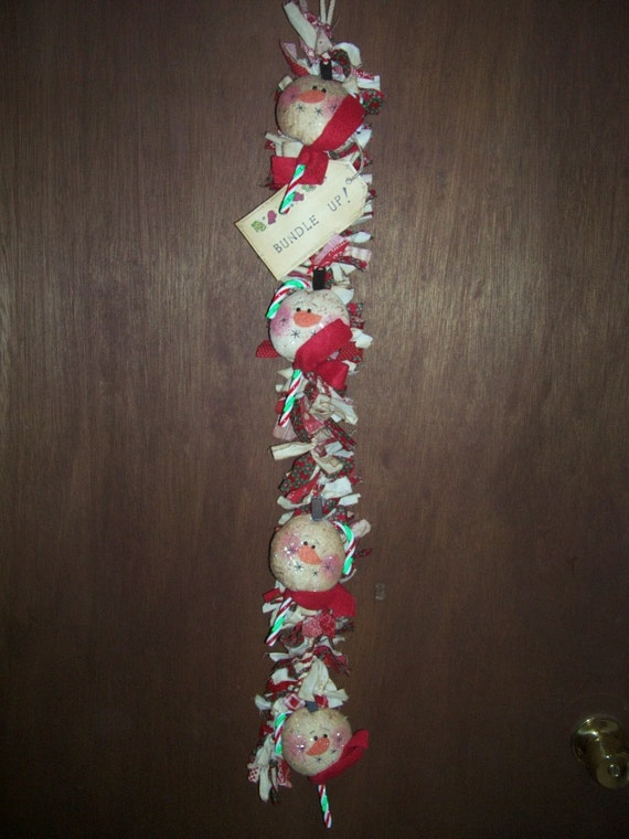 Primitive Whimsical Country Winter Christmas SNOWMAN Rag Swag Garland Door Greeter