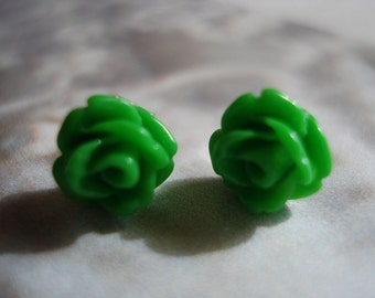 Green Rose Cabochon   Post Earrings Set on Quality Sterling Silver Post Size 6mm
