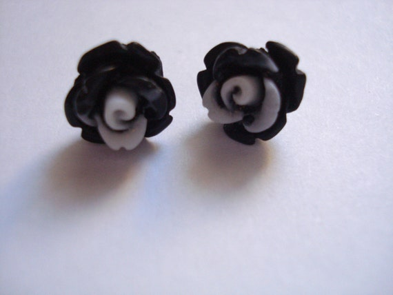 Matte Black Rose Polymer Clay Stud Earrings Set On Sterling Silver Post Size 9mm