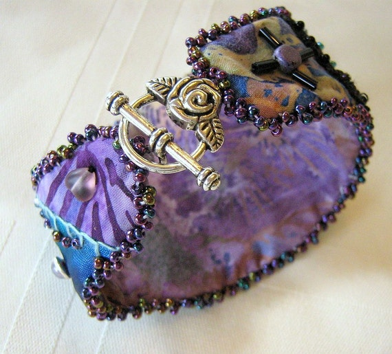 RESERVED Fabric Beaded Cuff Bracelet - Peacock and Purple