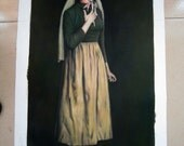"Song of Bernadette--Handpainted Oil on Canvas Overall size 19 ""x 35""-- After Norman Rockwell-Free Shipping USA"