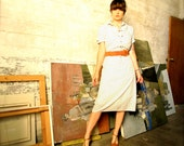 vintage heart print shirtdress - springtime dress with rust colored suede belt