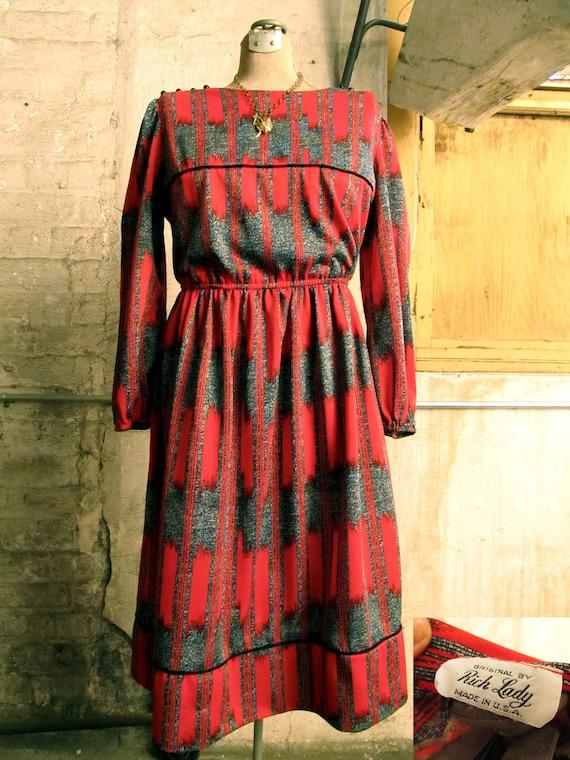 vintage 70s red southwestern dress. radiant in red stripes.