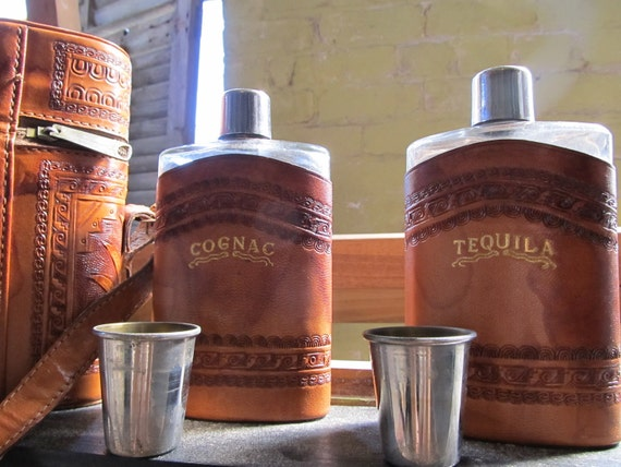 Vintage Tooled Leather Bag. Flask Stash with Shot Glasses. father's day.