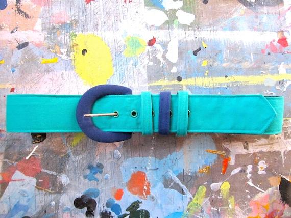 vintage color block fabric belt. size m