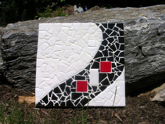 Mosaic Art--Black, White and Red