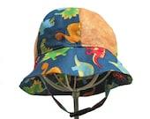 Baby Boys Cotton Bucket Sun Hat Orange Blue Dinosuars