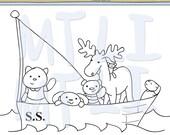 The S.S. Cutie Sailboat Digital Stamp