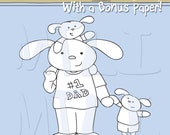 Bunny Dad With Kids (Two Boys) Digital Stamp With Bonus Paper