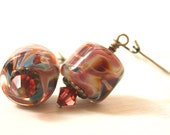 Coral Reef - artisan lampwork and brass drop earrings